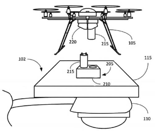Diagram of Amazon Prime Air drone charging point connection