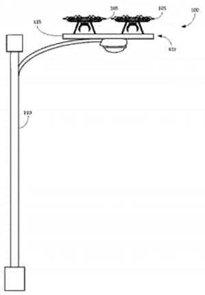 Diagram of lampposts as a safe place for Amazon's Prime Air drones